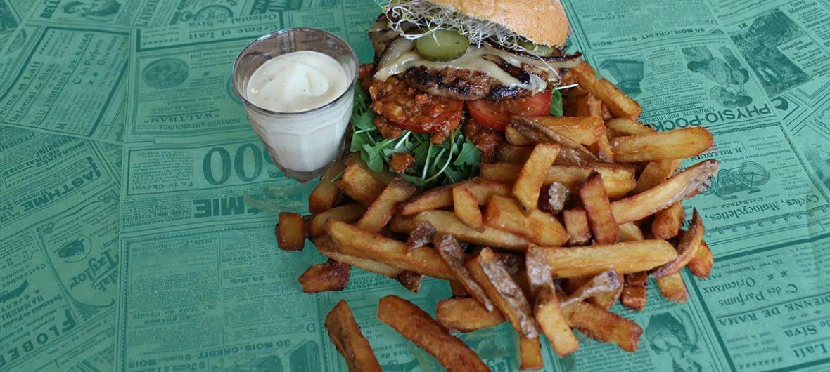 Een biologische hamburger met frites